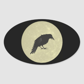 Rabe Mond raven moon Oval Sticker