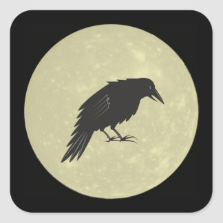 Rabe Mond raven moon Square Sticker