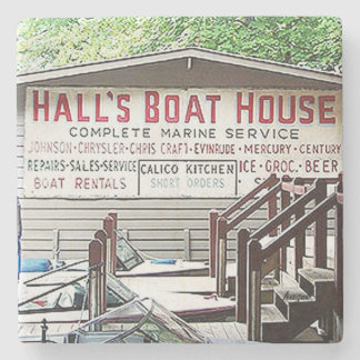 Rabun Boathouse, Hall's, Marble Coasters Stone Beverage Coaster