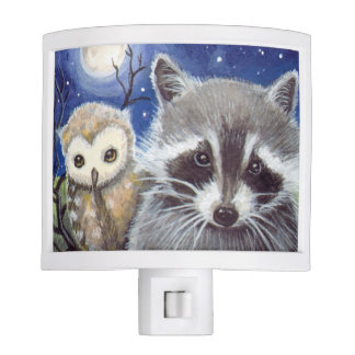 Raccoon and Cute Owl and Moon Night Light