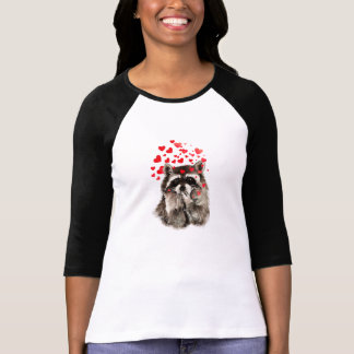 Raccoon Blowing Kisses Love Hearts Funny Animal T-Shirt