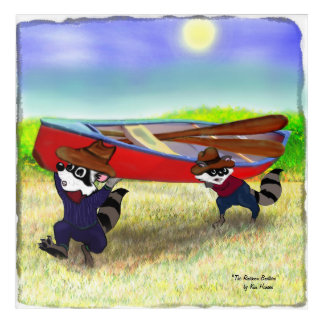 Raccoon Brothers and the Red Canoe Acrylic Wall Art