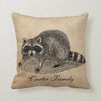 Raccoon Burlap Personalized Throw Pillow
