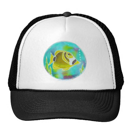 Raccoon Butterfly Fish Batik Art Mesh Hats