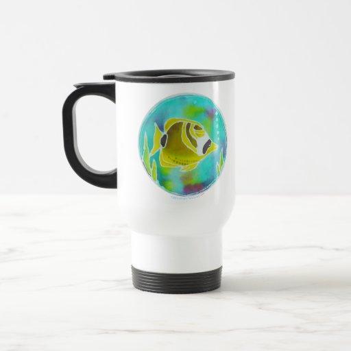 Raccoon Butterfly Fish Batik Art Coffee Mug