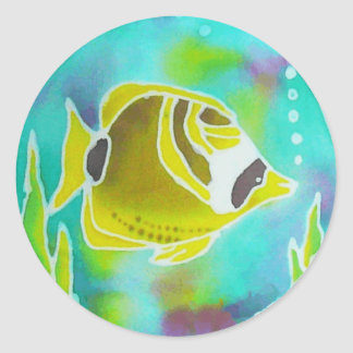 Raccoon Butterfly Fish Batik Art Round Sticker