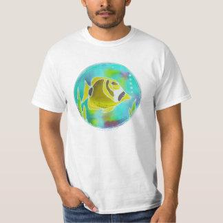 Raccoon Butterfly Fish Batik Art T-Shirt