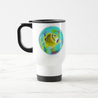 Raccoon Butterfly Fish Batik Art Travel Mug