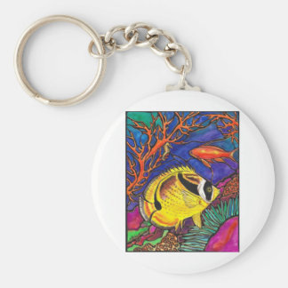 Raccoon Butterflyfish and Seahorse Art Basic Round Button Keychain