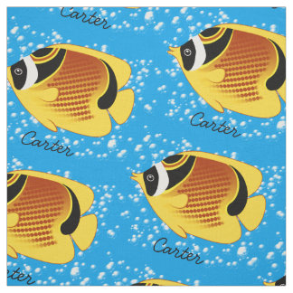 Raccoon Butterflyfish in Bubbly Water Fabric