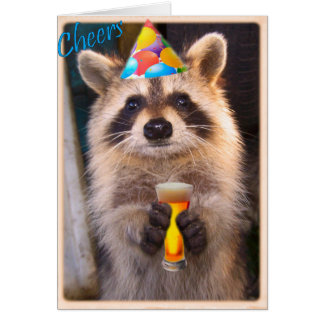 Raccoon cheer for any party occasion. card