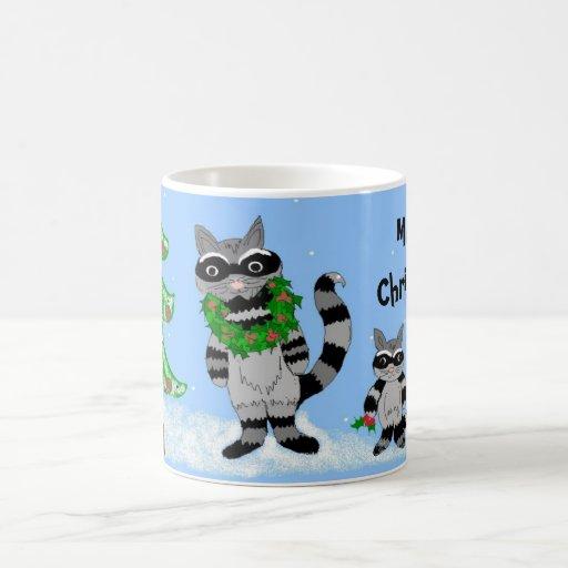 Raccoon Christmas Scene Mugs