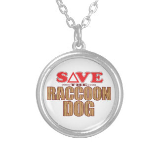 Raccoon Dog Save Silver Plated Necklace