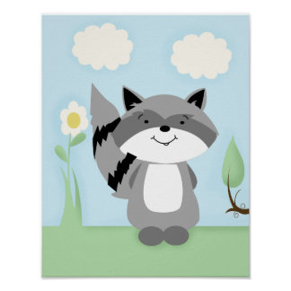 Raccoon Enchanted Forest Nursery Art Print