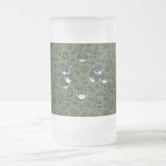 Raccoon Family in a Bush 16 Oz Frosted Glass Beer Mug