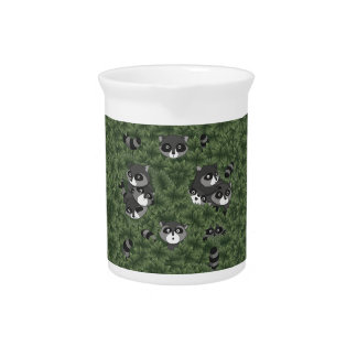 Raccoon Family in a Bush Drink Pitchers