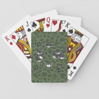 Raccoon Family in a Bush Poker Deck