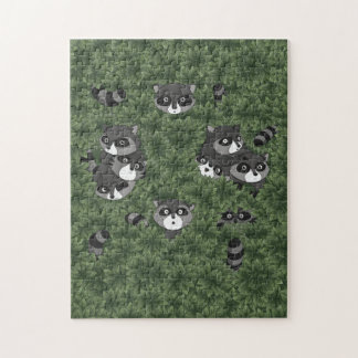 Raccoon Family in a Bush Puzzle