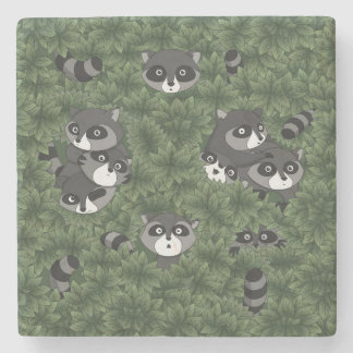 Raccoon Family in a Bush Stone Beverage Coaster
