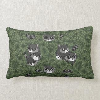 Raccoon Family in a Bush Throw Pillows
