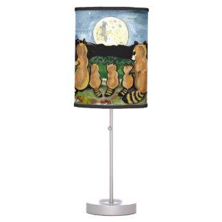 Raccoon Family Watching the Moon, Cute Lamp! Table Lamp