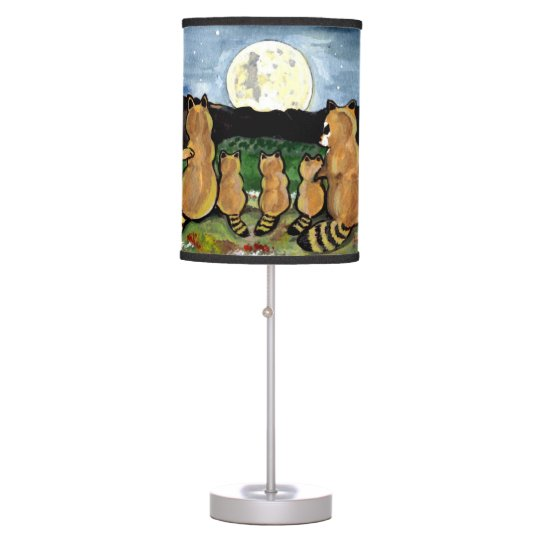 Raccoon Family Watching the Moon, Cute Lamp! Table Lamp