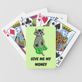 Raccoon - Give Me Money Bicycle Playing Cards