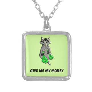 Raccoon - Give Me Money Silver Plated Necklace