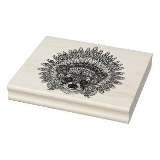 Raccoon In Feathered War Bonnet Doodle Rubber Stamp