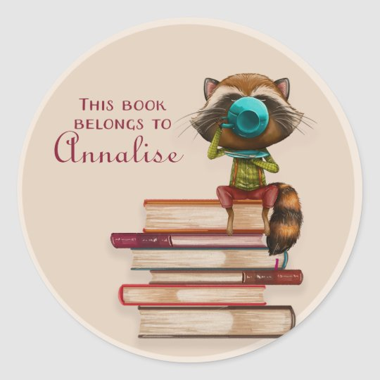 Raccoon on a Stack of Books Book Name Plate Classic Round Sticker