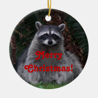 Raccoon Photo Christmas Ceramic Ornament