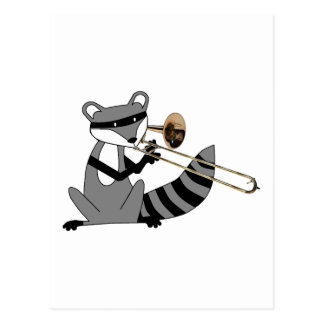 Raccoon Playing the Trombone Postcards