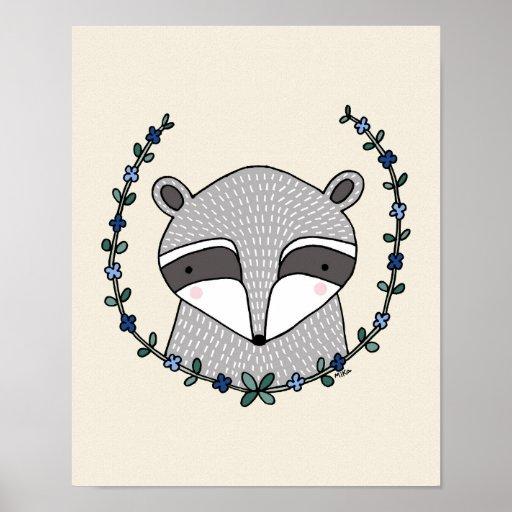 Raccoon Poster Raccoon Nursery Wall Decor Print