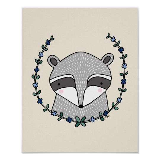 Raccoon Poster Raccoon Nursery Wall Decor Print