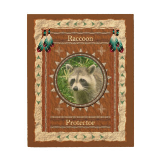 Raccoon  -Protector-  Wood Canvas