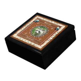 Raccoon  -Protector- Wood Gift Box w/ Tile