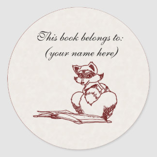 Raccoon reading classic round sticker