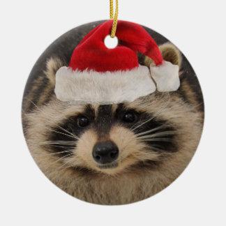 Raccoon Santa ornament