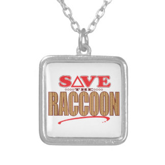 Raccoon Save Silver Plated Necklace