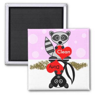 Raccoon & Skunk Clean / Dirty Dishwasher Magnet