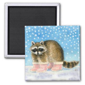 Raccoon Snow Day magnet