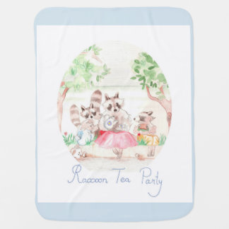 """Raccoon Tea Party"" Baby Blanket Light Grey"