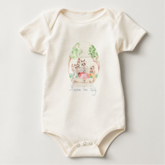 """Raccoon Tea Party"" Baby Organic Bodysuit"