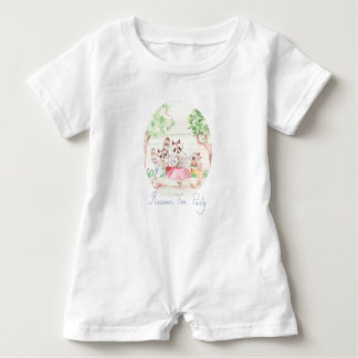 """Raccoon Tea Party"" Baby Romper"