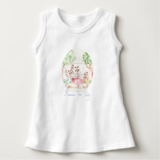 """Raccoon Tea Party"" Baby Sleeveless Dress"