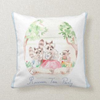 """Raccoon Tea Party"" Cotton Throw Pillow 16""x16"""
