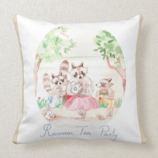 """Raccoon Tea Party"" Cotton Throw Pillow 20""x20"""