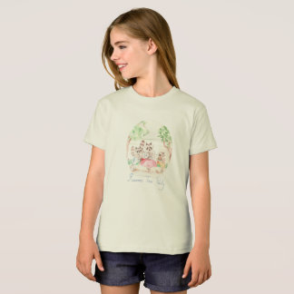 """Raccoon Tea Party"" Girls Organic T-shirt"