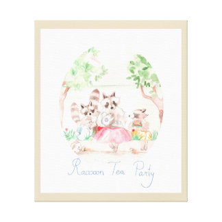 """Raccoon Tea Party"" Kids Canvas Print"