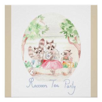 """Raccoon Tea Party"" Nursery Art Poster"